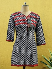 Black And White Printed Kurti - Sutee