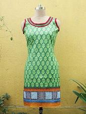 Green Floral Printed Kurti - Sutee