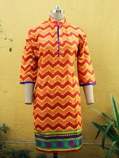 Orange Printed Kurti With Mandarin Collar - Sutee