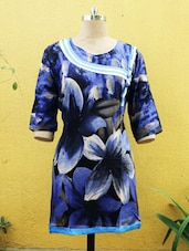 Navy Blue Floral Print Kurti - Sutee