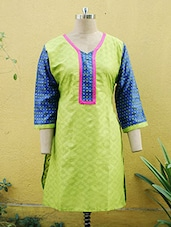 Lime Green And Blue Printed Kurti - Sutee