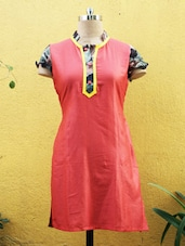Red Kurti With Short Sleeves - Sutee