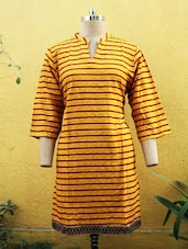 Yellow Kurti With Horizontal Stripes - Sutee