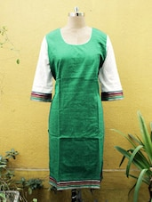 Green Kurti With White Sleeves - Sutee