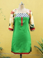 Green Kurti With Floral Print Sleeves - Sutee
