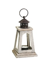 Natural Finish Square Lantern With A Wood Grain Finish - By