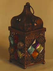 Copper Finish Gun Metal Tea Light Holder With Colored Glass Stone - Aapno Rajasthan