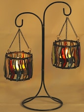 Weight Balance Colored Glass Tea Light Holders - Aapno Rajasthan