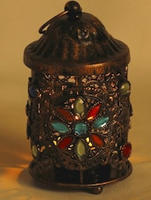 Colored Glass And Gun Metal Tea Light Candle Holder - Aapno Rajasthan