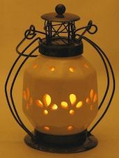 Classic Pure White Ceramic Lantern With Wrought Iron - Aapno Rajasthan