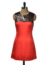 Red Satin Dress With Sequined Yoke - KARYN