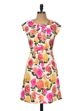 Rose Printed Short Dress - Myaddiction