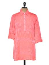Bright Pink Chevron Patterned Tunic - Myaddiction