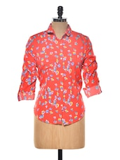 Red Floral Printed Top - Myaddiction