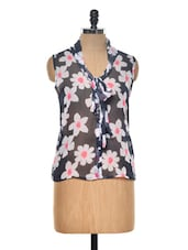 Navy Blue Floral Print Top - Myaddiction