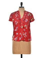 Red Floral Printed Frilled Top - Myaddiction