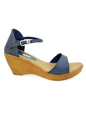 Blue Peep Toe Wedges - MAHARAJA
