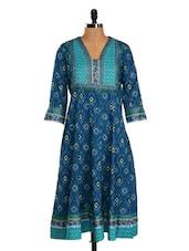 Printed Blue Cotton Anarkali Kurta - Farida Gupta