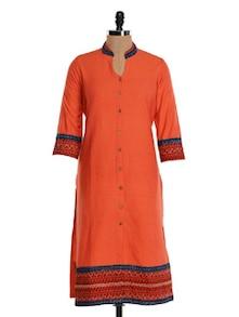 Orange Cotton Straight Kurta - Farida Gupta