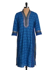Blue Cotton Straight Kurta - Farida Gupta