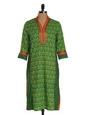 Green Cotton Straight Kurta - Farida Gupta