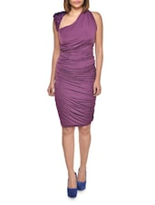 Ruched Pencil Dress With Asymmetric Neckline - FOREVER UNIQUE