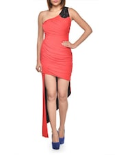 Asymmetric Ruched Red Dress - FOREVER UNIQUE
