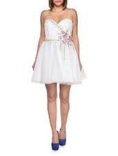Sweetheart White Dress With Corsage Trim - FOREVER UNIQUE