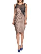 Mesh Insert Asymmetric Cut Dress - FOREVER UNIQUE