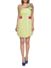 Lime Bubble Dress With Shoulder Detail - FOREVER UNIQUE