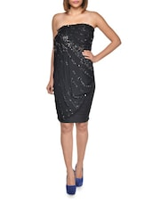 Draped Overlay Sequinned Black Dress - FOREVER UNIQUE