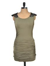 Olive Ruched Dress With Cowl Back - FOREVER UNIQUE