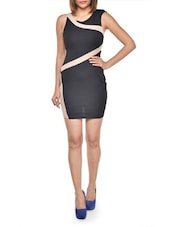 Black Contour Dress With Mesh Insert - Lipsy