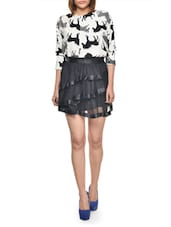 Black Mesh Border Skirt - Lipsy