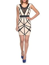 Black Mesh Panel Nude Dress - Lipsy