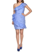 Blue Layered One Shoulder Party Dress - MARCHESA