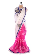 Pink And Off-white Georgette Saree With Jacquard Work - Saraswati
