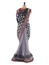 Grey And Black Georgette Saree With Jacquard Work - Saraswati