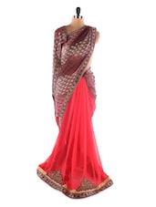 Red And Brown  Georgette Saree With Jacquard Work - Saraswati