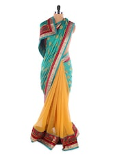 Green And Pale Yellow Georgette Saree With Jacquard Work - Saraswati