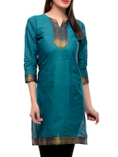 Sea Green Three Quarter Sleeved Kurti - Jainish