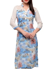 Blue And White Printed Kurta - Jainish