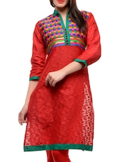 Red Kurta With A Multi-coloured Yoke - Jainish