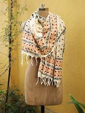 Beige And Orange Printed Dupatta - Cotton Koleksi