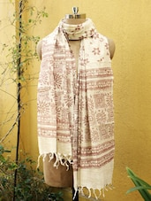Beige And Brown Tribal Print Dupatta - Cotton Koleksi