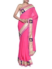 Elegant Pink Georgette Saree With Gorgeous Golden Border - Tanisi
