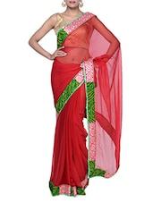 Gorgeous Bright Red Chiffon Saree With Green Border - Tanisi