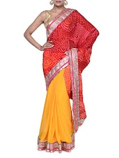 Stunning Half And Half Red And Yellow Traditional Georgette Saree - Tanisi