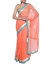 Beautiful Orange Chiffon Saree - Tanisi
