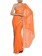 Simple Orange Chiffon Saree - Tanisi